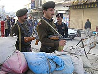 Frontier Constabulary and police personnel on security duty in Dera Ismail Khan
