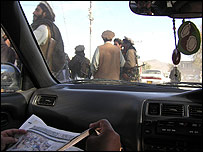 Taleban fighters in Miranshah, photographed from inside a car