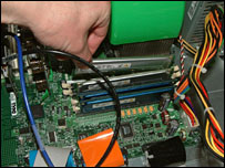 removing old memory chip from PC motherboard