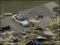 Aftermath of a tornado in the southern US state of Alabama