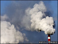 Smoke billows from a power plant chimney in Mongolia