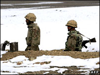 Pakistani soldiers on duty on the Pakistan-Afghanistan border