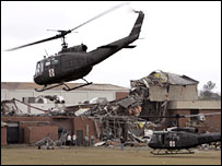 US military helicopters at storm-damaged Enterprise high school, Alabama