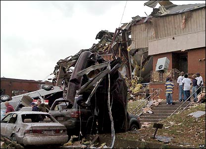 The remains of Enterprise High School after the devastating storm on March 1, 2007