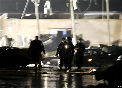 Rescue workers at night in Enterprise Alabama