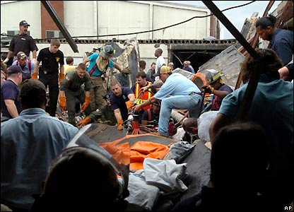 Rescue workers at Enterprise High School in Enterprise, AL