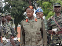 President Yoweri Museveni inspects the troops
