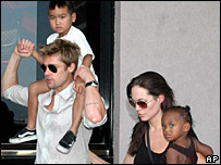 Brad Pitt and Angelina Jolie with their adopted children