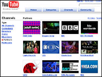 screen grab of YouTube partner channel page