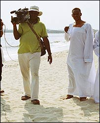 Nollywood production being filmed on the beach in Lagos