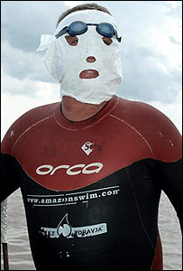 Martin with the ever-present mask and wetsuit
