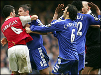 The brawl marred the Carling Cup final
