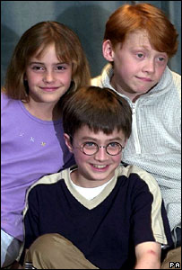Daniel Radcliffe (centre) with Harry Potter co-stars Emma Watson and Rupert Grint
