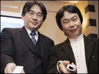 Shigeru Miyamoto and Satoru Iwata