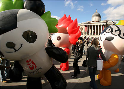 The Olympic Mascots in Trafalgar Square