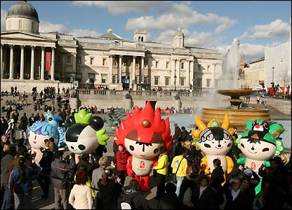 The mascots in Trafalgar Square