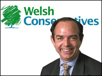 Nick Bourne and Welsh Conservative party logo