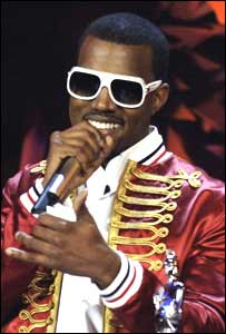 Kanye West winning a Brit award in 2006