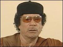 Muammar Gaddafi during the BBC interview