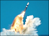 A Trident missile (picture: US defence department)
