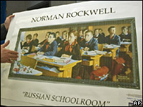A reproduction of Rockwell's Russian Schoolroom