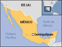 Mapa de Ixquimilpan, México.