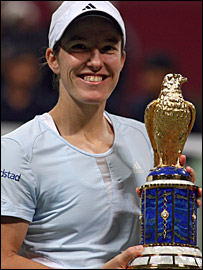 Justine Henin with the Qatar Open trophy