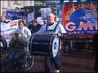 Disabled workers marching through Cardiff