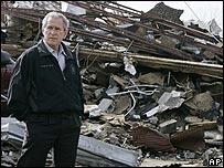 George Bush tours tornado damage in Enterprise, Alabama