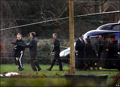 Elton John arrives by helicopter