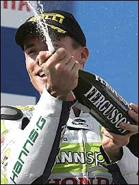 James Toseland celebrates his victory at Phillip Island