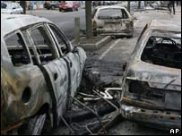 Burned cars in Copenhagen