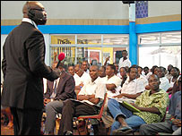 BBC presenter Komla Dumor addresses the audience