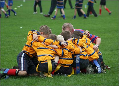 "Adam Boothby: ""Trowbridge U7s receive final words of advice before their first ever competitive game of rugby.  They went on to win away at the Rec against Bath"""