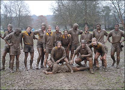 Fiona Stockley's photo shows the Wasps ladies covered from head to toe in mud following the game against Henley