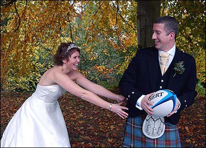 Fraser Adair takes time for a spot of rugby with his new wife Vonnie