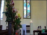 Candle dedicated to those who died in the Zeebrugge ferry disaster