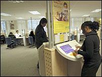 Inside a job centre