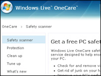 Screegrab of Live OneCare homepage, Microsoft