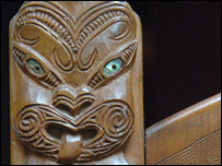 Some of the Maori carvings on the chair (picture: National Library of Wales)