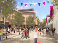 Artist's impression of how the area around the Grand Theatre will look