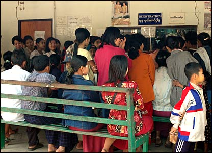 Burmese people registering at Dr Cynthia's clinic