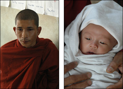 Burmese monk (l) and young Burmese baby (r )