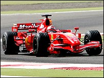 Kimi Raikkonen in the new Ferrari in testing at Bahrain