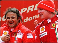 Ferrari drivers Felipe Massa and Kimi Raikkonen