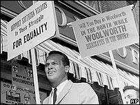 Belafonte at an equal rights demonstration in 1960