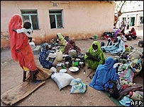 Displaced Sudanese wait for medical check-up at Nyala in Sudan's war-torn Darfur region