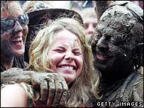Fans at Glastonbury 2005