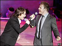Mark Owen (left) and Gary Barlow of Take That
