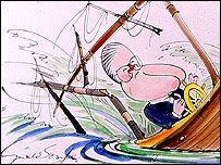 Detail of Kenneth Baker and Margaret Thatcher cartoon � Gerald Scarfe